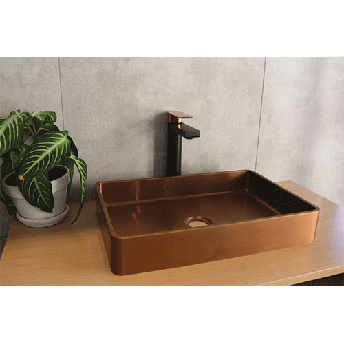 Lusso Basin Mixer Extended - Matte Black and Deep Rose Gold