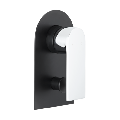 Magnus Shower Diverter - Chrome Handle and Matte Black Back Plate